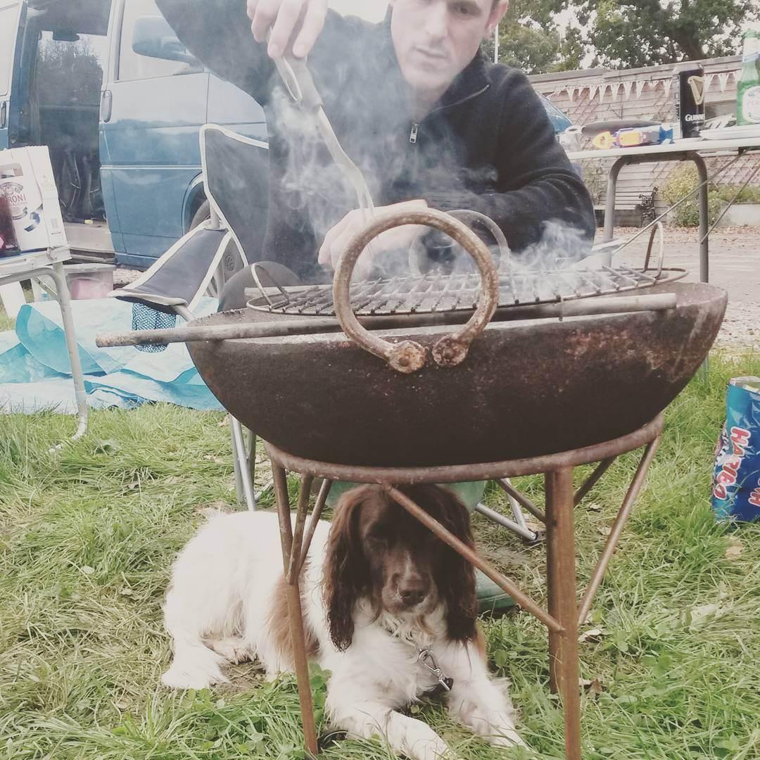 Bailey dog keeping warm